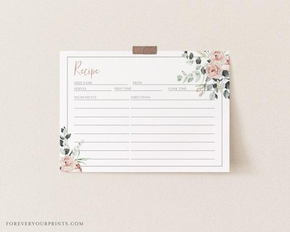 Printable Recipe Card Recipe card Printable Floral Bridal Shower Games Pink /& Navy Floral Bridal Shower Recipe Card
