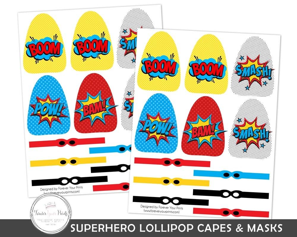 Superhero Lollipop Party Favor Lollipop Capes And Masks Etsy