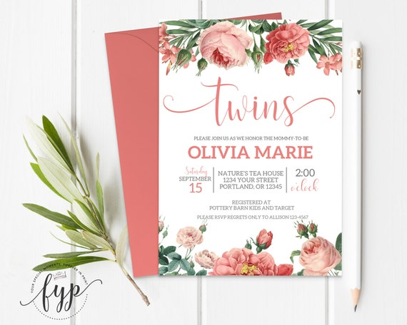 picture regarding Twins Printable Schedule identify Floral Twins Kid Shower Invitation Printable Dual Gals