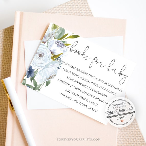 Book Request Card, Bring A Book Insert, Books For Baby Template, INSTANT  DOWNLOAD