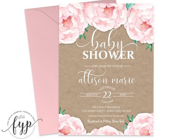 Rustikale Floral Baby Shower Einladung druckbare Land Blumen   Etsy