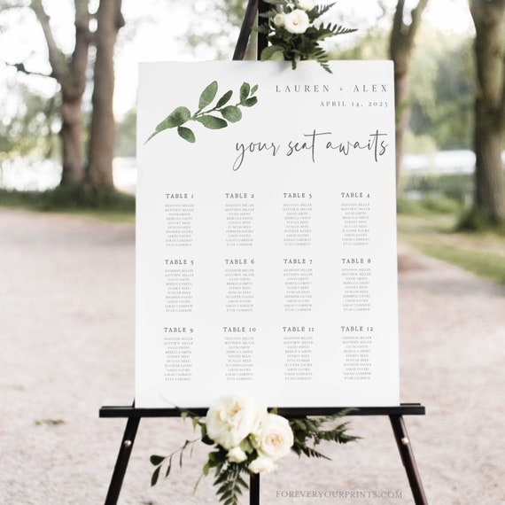 Seating Chart Poster Instant Download Seating Chart Greenery Printable Seating Chart Template