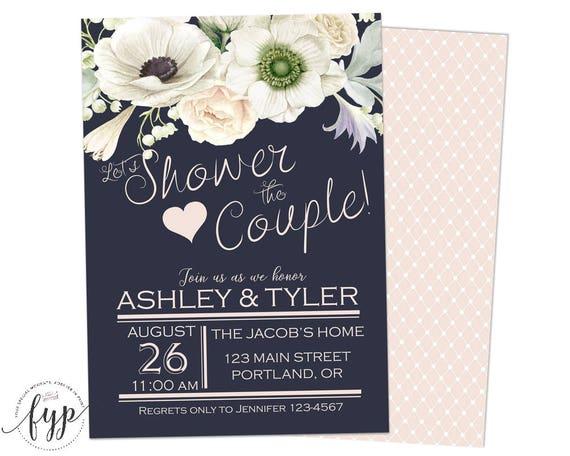 Navy Cream Bridal Shower Invitations Couples Bridal Shower