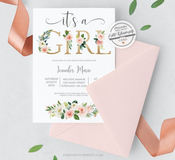 It S A Girl Baby Shower Invitation Template Editable Instant