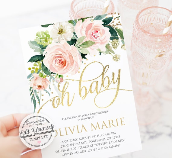 Floral Baby Girl Shower Invitation Template Editable Instant