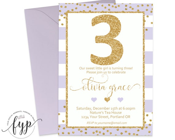 girls 3rd birthday invitation printable girls birthday party invite