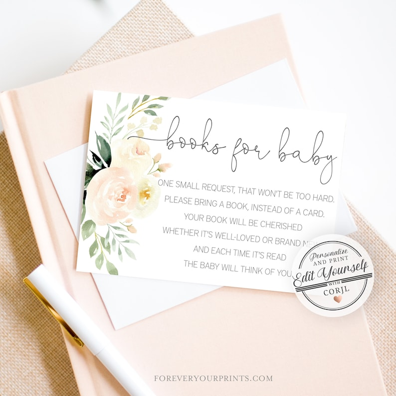 Book Request Card Greenery Books For the Baby Template  image 0
