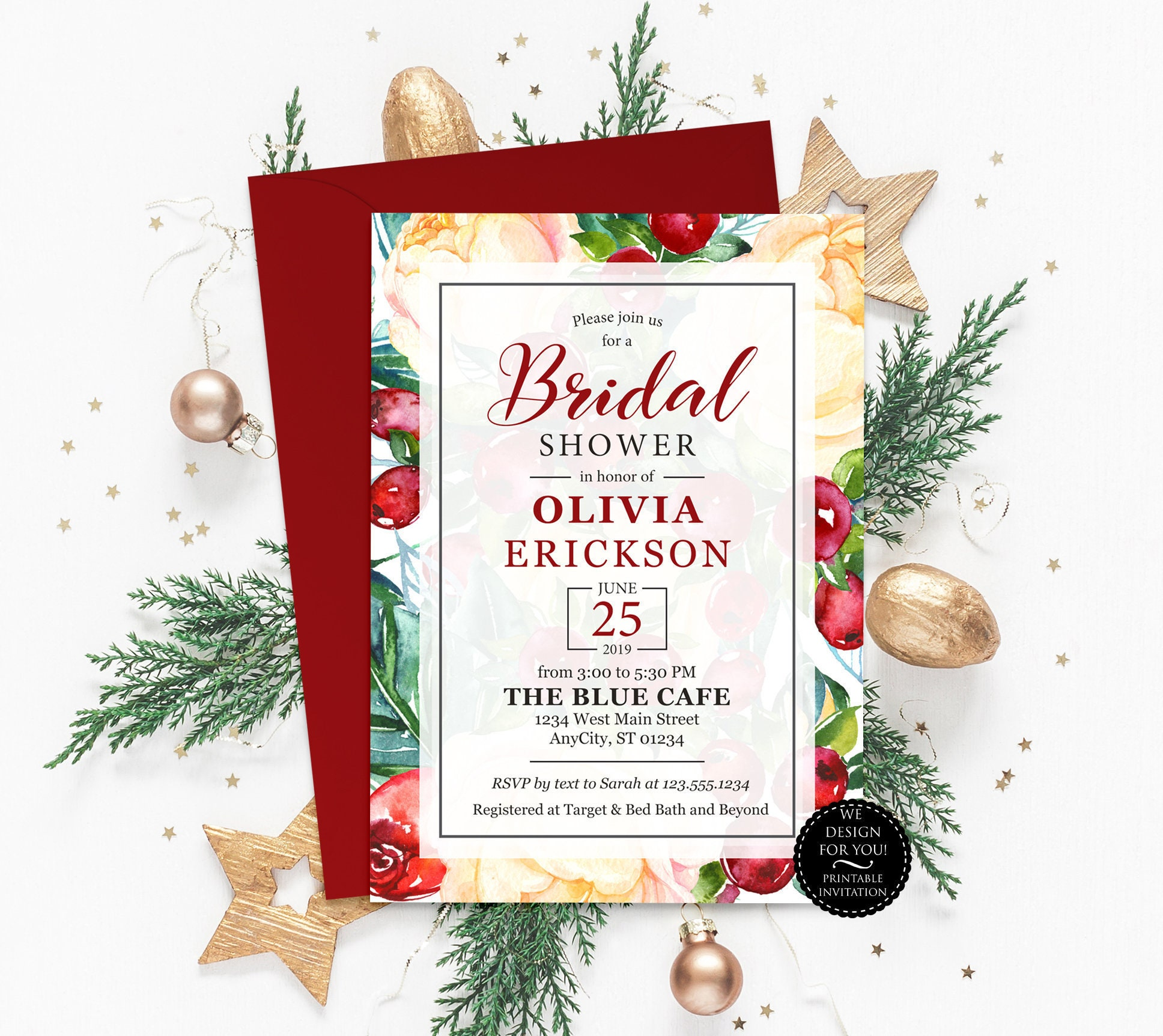 Winter Bridal Shower Invitation Printable Christmas Bridal | Etsy