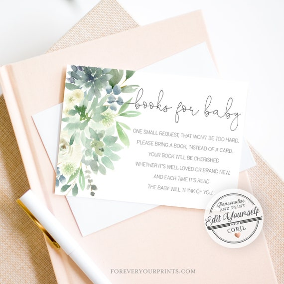 Book Request Card Greenery Books For the Baby, Botanical Baby Shower |  Editable Instant Download