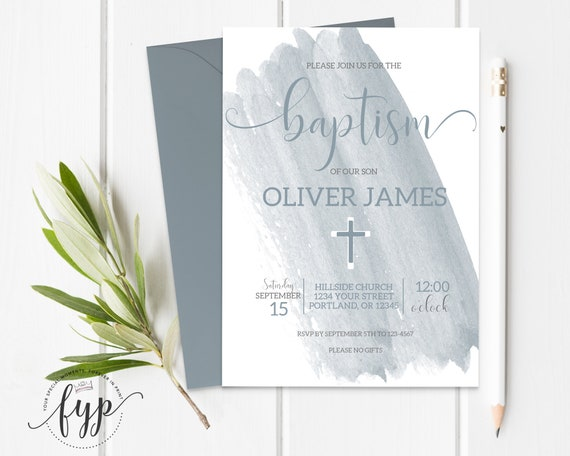 Blue Watercolor Baptism Invitation Printable Boy Baptism Invite