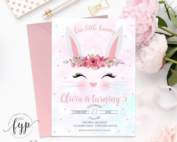 bunny birthday invitation printable some bunny invitation etsy