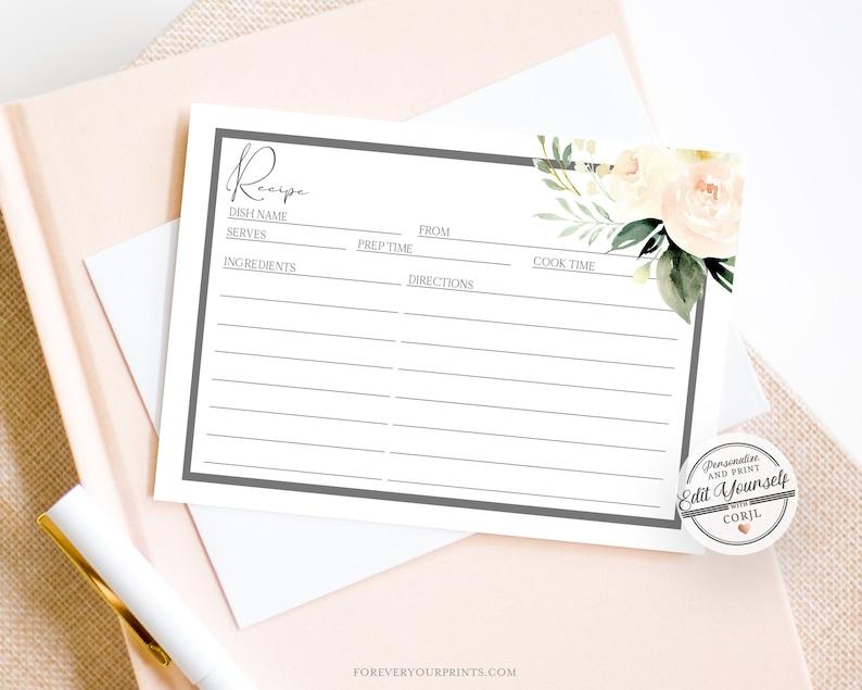 Bridal Shower Recipe Card Template, Bridal Recipe Card, Floral Bridal  Insert, INSTANT DOWNLOAD