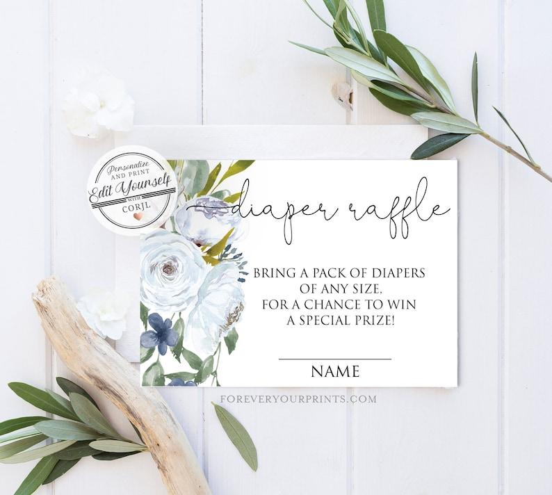Floral Diaper Raffle Ticket, Editable Diaper Raffle Card, Baby Shower Game