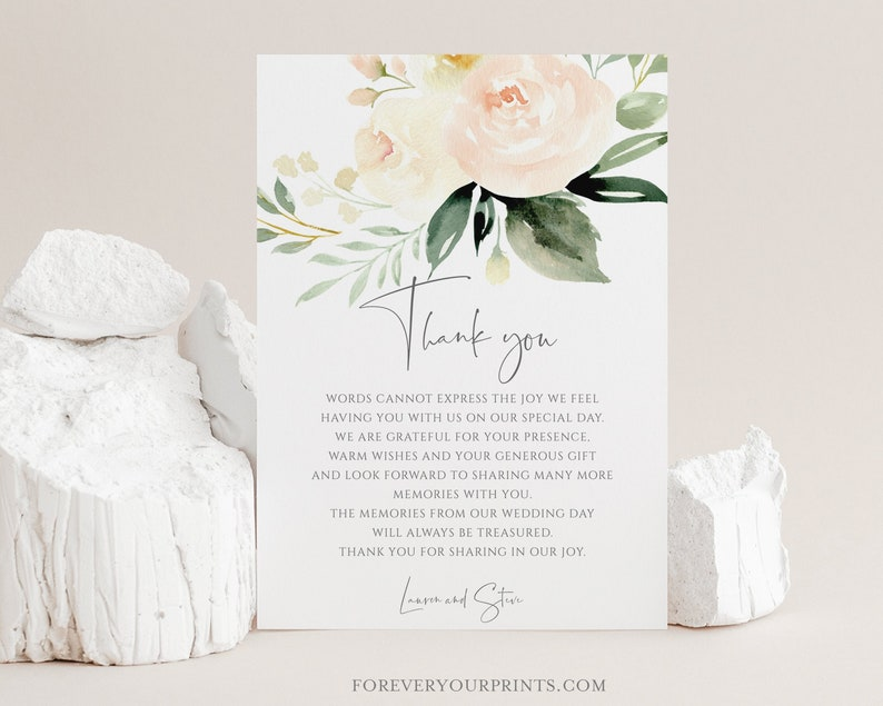 Wedding Thank You Note Printable Thank You Card Template image 0