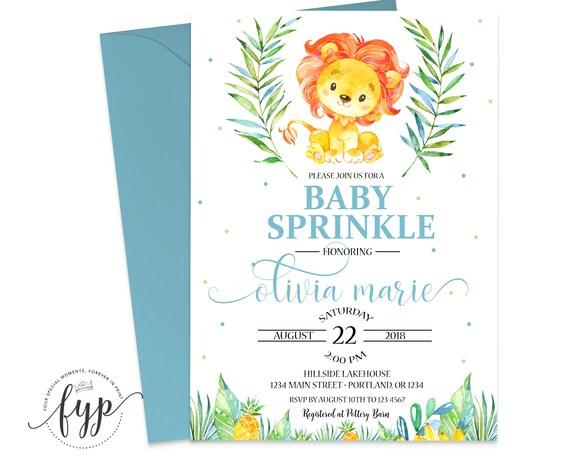 baby sprinkle invitation lion baby shower invitation baby boy