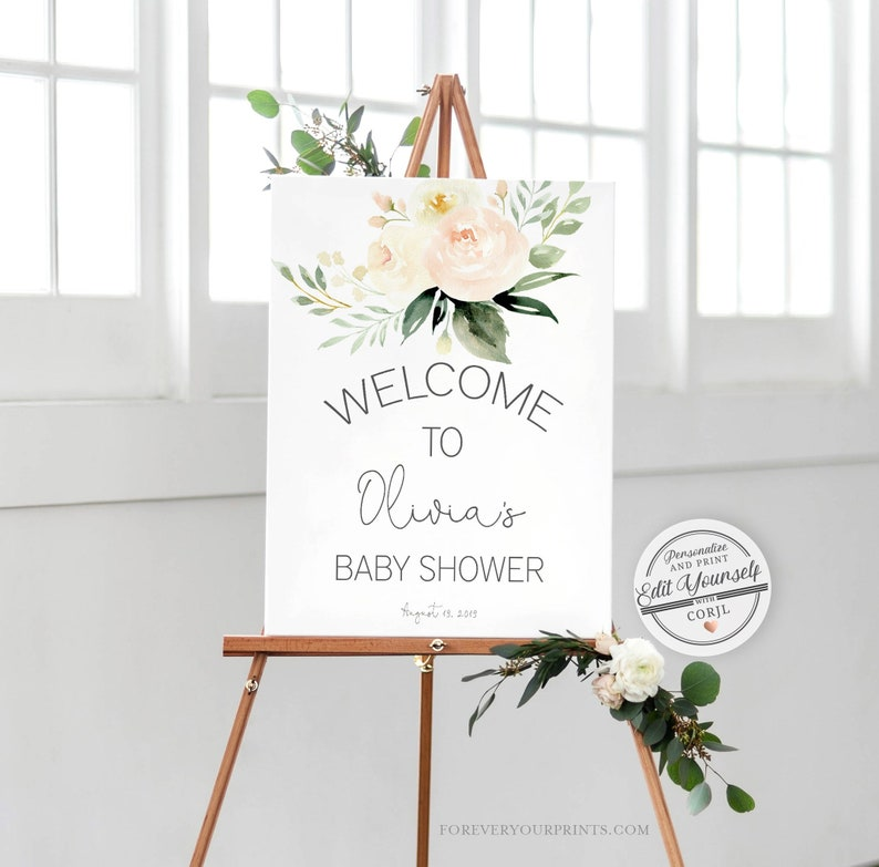 Baby Shower Welcome Sign Template  Editable Instant Download image 0