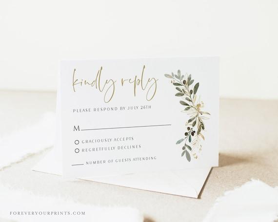 Rebecca RSVP Cards 4x6 Rectangle Format Digital PDF File Elegant Wedding Monogram Initials Birthday party Reception Anniversary Retirement