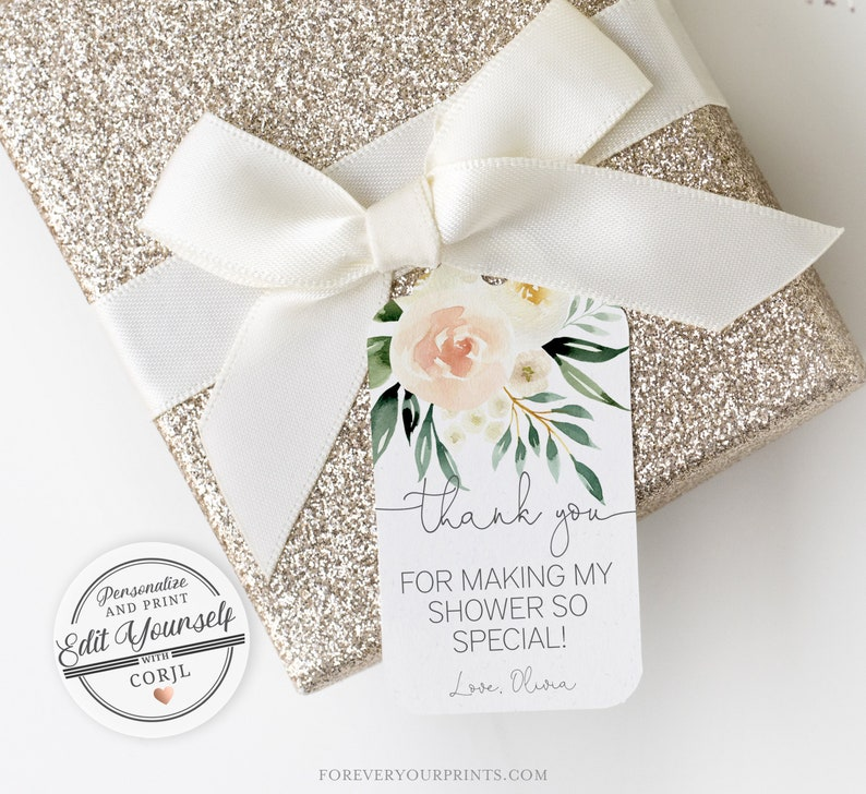 Floral Thank You Tags Template  Editable Instant Download image 0