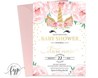 Unicorn Baby Shower Invitation - Baby Shower Invitation Girl - Girl Baby Shower Invite - Baby Girl Invitation - Confetti Baby - Floral Baby