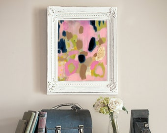 Mystery Floats Back // Abstract Painting, Colorful Original Modern Art, Acrylic on Canvas, Pink, Navy Blue, Free US Shipping, Lisa Barbero
