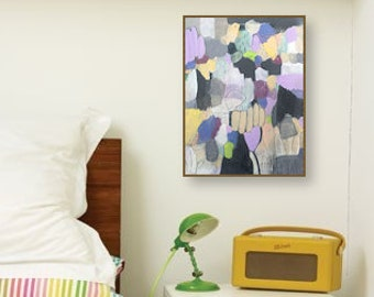 Rara Avis No. 4 // Abstract Painting, Colorful Original Modern Art, Acrylic on Canvas, Purple, Yellow, Free US Shipping, Lisa Barbero