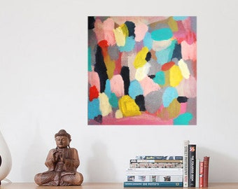 Rock Show // Abstract Painting, Colorful Original Modern Art, Acrylic on Canvas, Pink, Teal, Yellow, Gray, Free US Shipping, Lisa Barbero