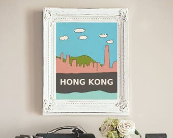 Hong Kong // Asia, Asian, Urban, City Skyline Illustration, Kids Room, Nursery Decor, Home Town Love, City Pride, Hometown, City Poster