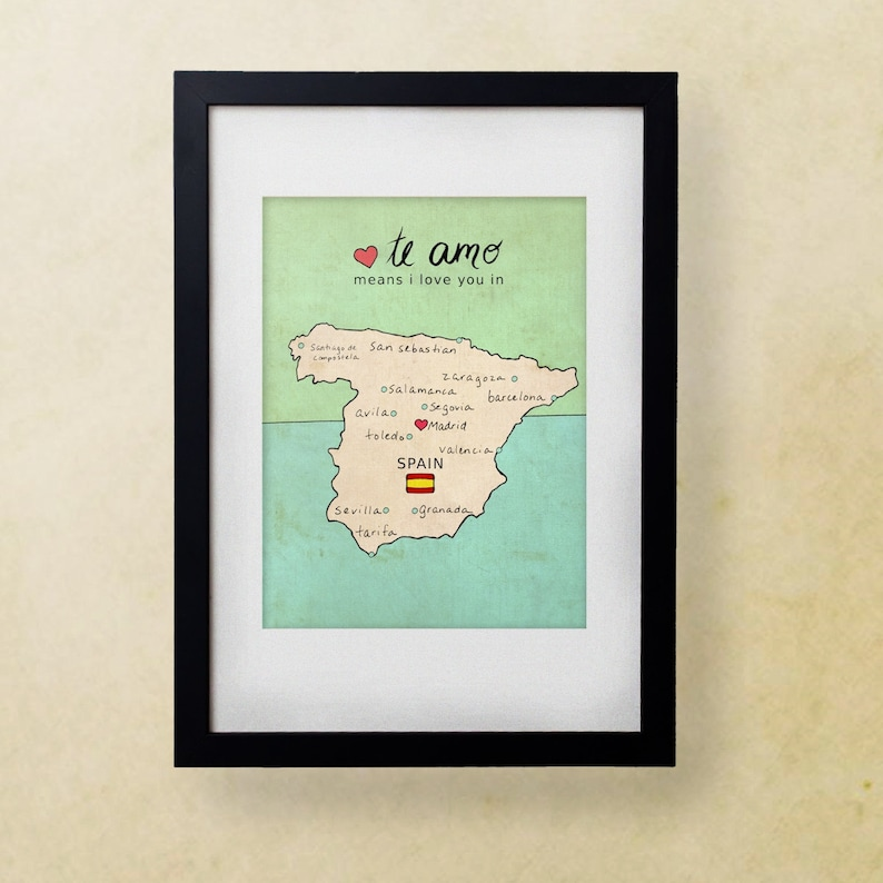 I Love You in Spain // Illustration Print Map Typographic | Etsy