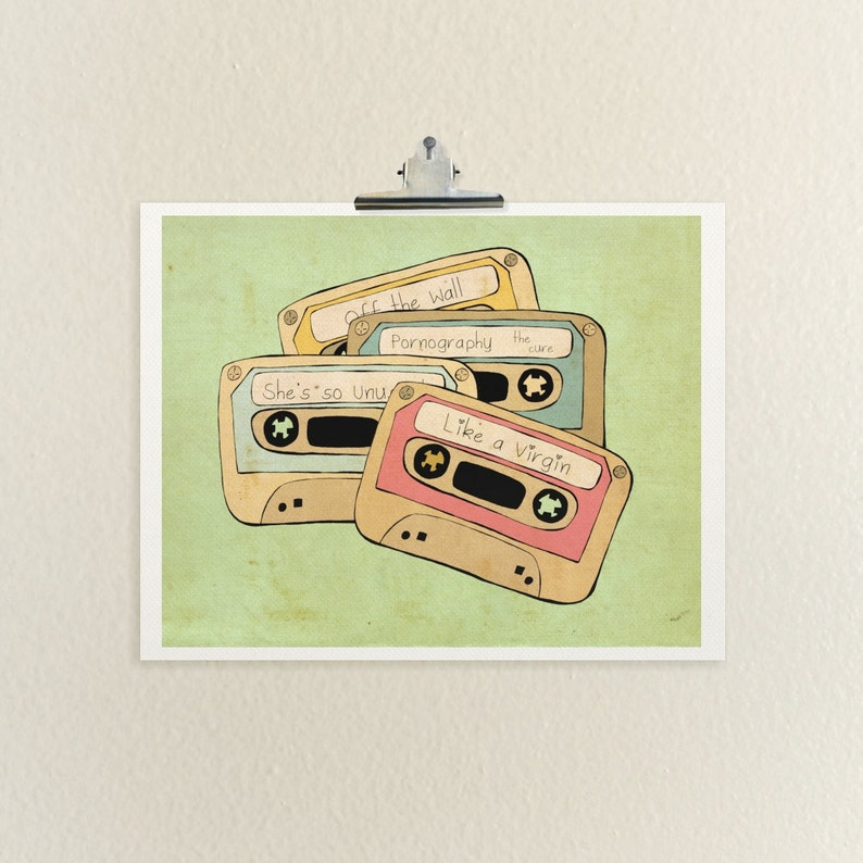 The Eighties // IIllustration, Poster Print, Retro, Vintage, Wall Decor,  Modern, Cassette Tapes, Michael Jackson, The Cure, Music