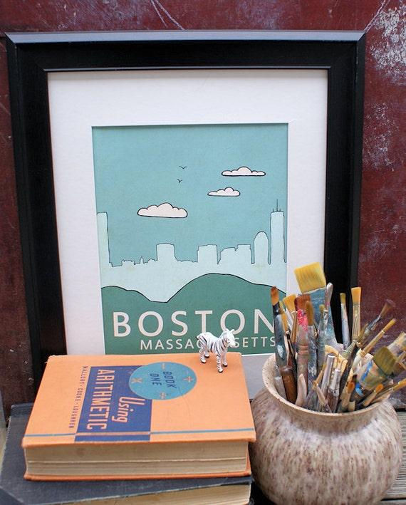 Home Decor Boston: Home Decor Wall Art City Poster // Boston No.1