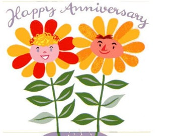 Vintage Original unused Greeting card Anniversary-May Your Happiness Grow & Grow