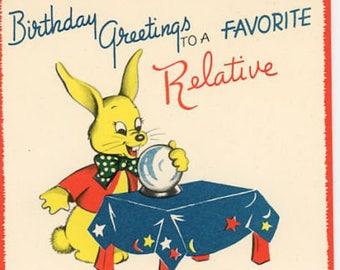 Vintage Original unused Greeting card Happy Birthday To A Favorite Relative