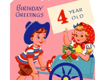 Vintage Original unused Greeting card Happy Birthday Four Year Old