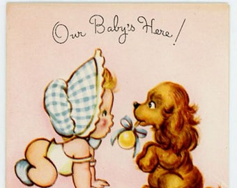 Vintage Original unused Greeting card Baby Annoucement-Our Baby's Here Lot of 6 Cards