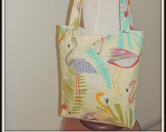 market tote, flamingo tote and wristlet, beach lover bag and wristlet, flamingo market tote, Everyday tote and pouch, flamingo lover gift