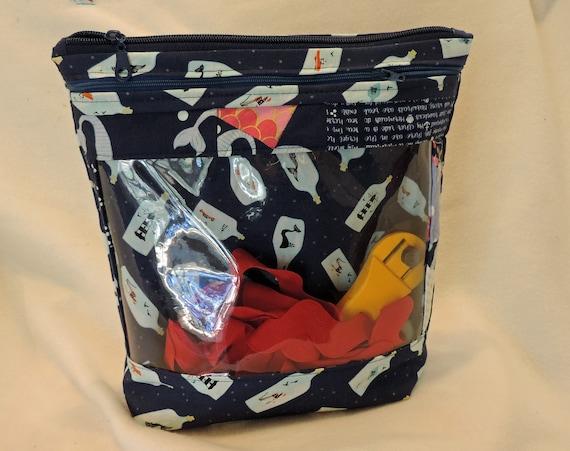 clear window project bag, clear pocket bag, yarn storage bag, craft storage bag, knit project bag, packing organizer, cross stitch organizer