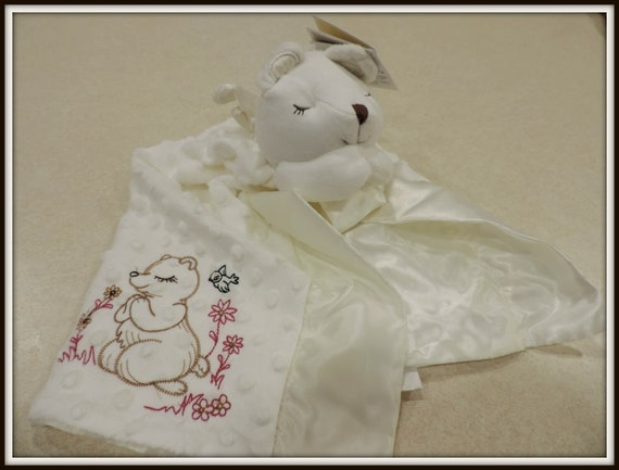 angel bear, Prayer bear monogrammed, angelcore, baptism gift blanket, minky satin blanket, Easter baby blanket, Christening gift
