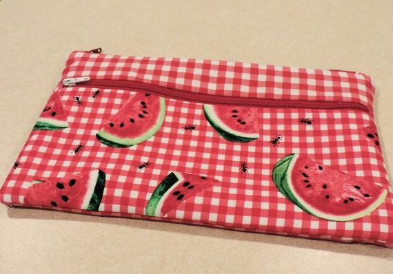 watermelon bag, summer pouch, watermelon purse organizer, watermelon festival, summer purse, picnic check bag