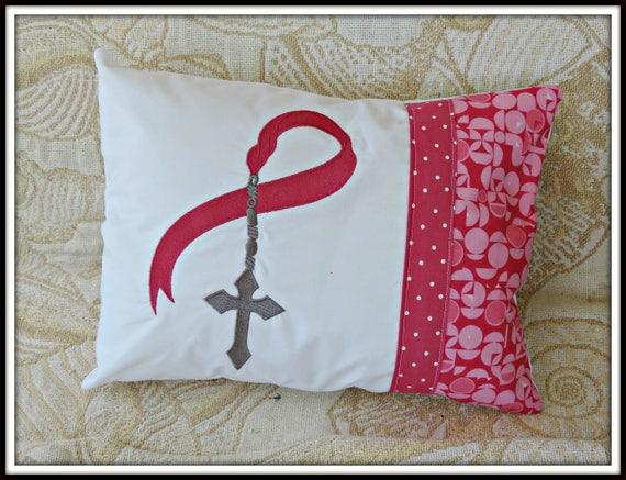 Cancer ribbon, Rosary ribbon, pink pillow, breast cancer awareness, pink ribbon pillow, breast cancer ribbon
