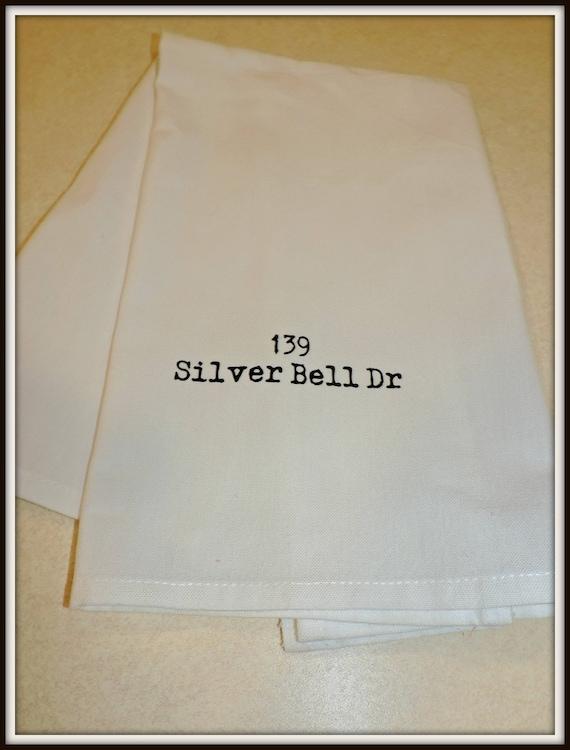 zip code towel, your city gift,address dish towel,  hometown gift, address towel, agent gift, closing gift, housewarming gift, new home gift