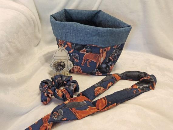 Doxie gift basket, dachshund basket, new puppy gift, new dog gift, pet sitter gift, dog walker gift, rescue pet gift, pet slouchy basket