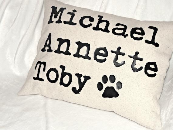 Grandkid names pillow, family names pillow, children names pillow,  pet names pillow, Grandchildren gift, grandma gift,  mothers day pillow