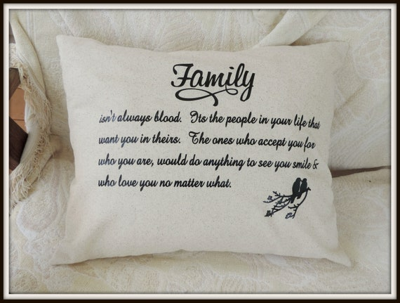 Friendship pillow, Family Quote Pillow, best friend gift, family tree, moving away gift, college student, adoption gift, step parent gift