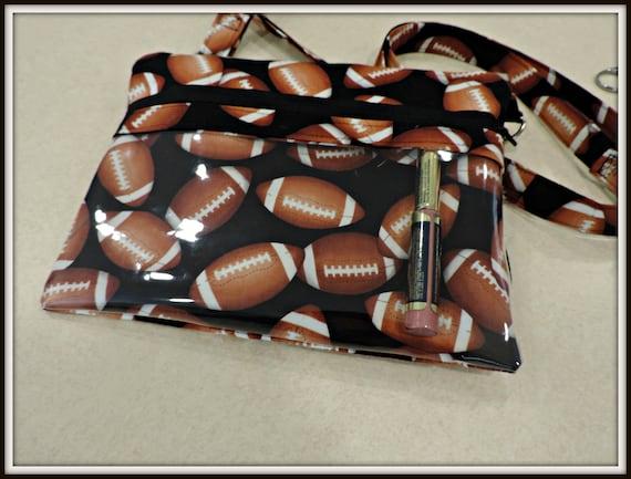 clear pocket bag, direct sales bag, football crossbody bag, lipstick display bag, vinyl pocket bag, direct sales bag