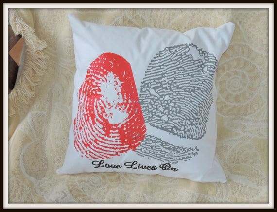 custom Fingerprint pillow, fingerprint couples pillow, memorial gift, loss of child gift, condolences gift, bereavement fingerprint pillow