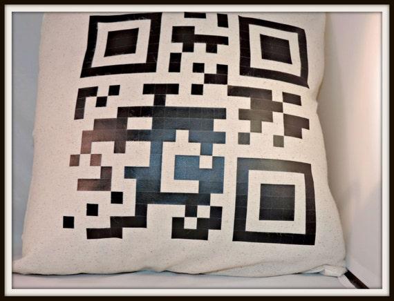 secret Message pillow, custom QR Smart phone reader, geek dad announcement, gift for nerd, geek dad gift, geek boyfriend gift, geekery