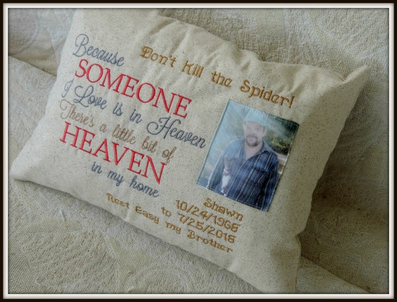 Memory Photo pillow, because someone I love in heaven pillow, in memory of pillow, someone we love is in heaven, grief and mourning gift