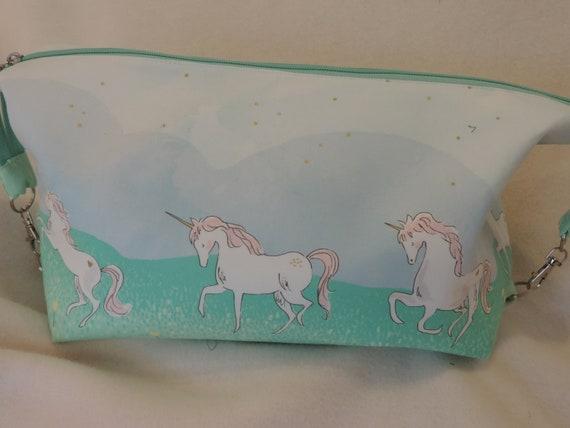 Unicorn Retreat bag, knitting crochet project bag, large Toiletry bag, unicorn fabric, unicorn travel bag, unicorn toiletry bag