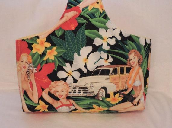 retro summer bag, project bag, over the wrist bag, single handled tote, resort wear bag, beach wedding, beach fabric bag, yarn storage bag