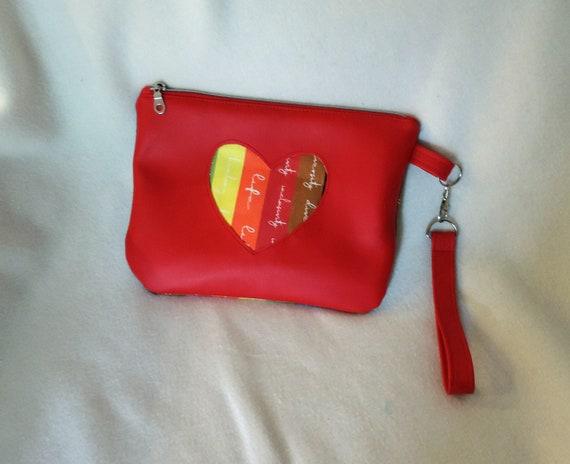 Rainbow heart pouch,  LGBTQ pride, gay clutch, love is love, Pride 2021, lesbian girlfriend gift, rainbow heart clutch